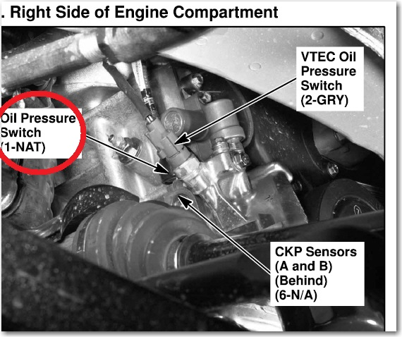 Oil Pressure Sensor Location 2004 Pilot  Honda Pilot  Honda