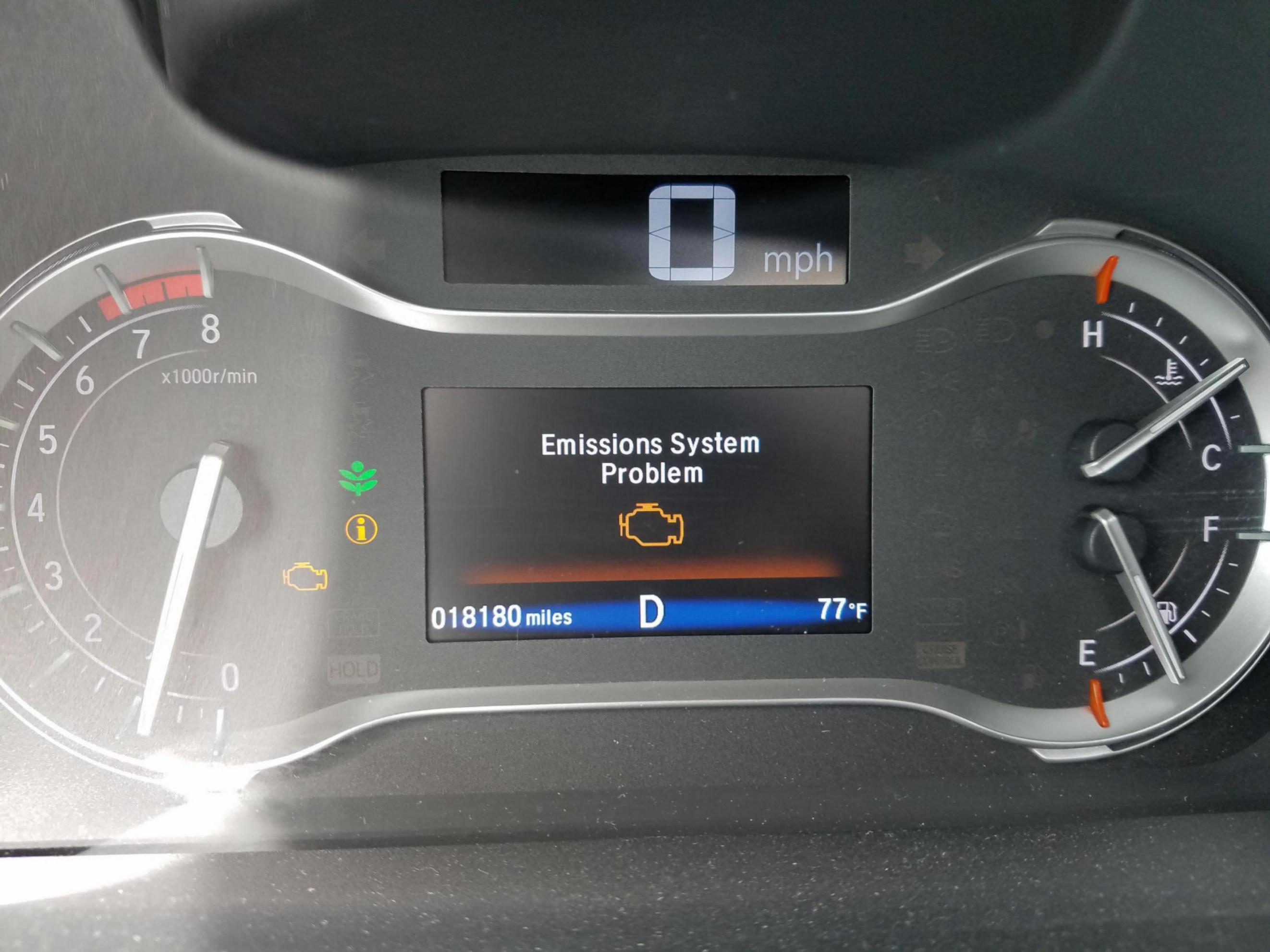 Emissions System Problem Again  Honda Pilot  Honda Pilot Forums