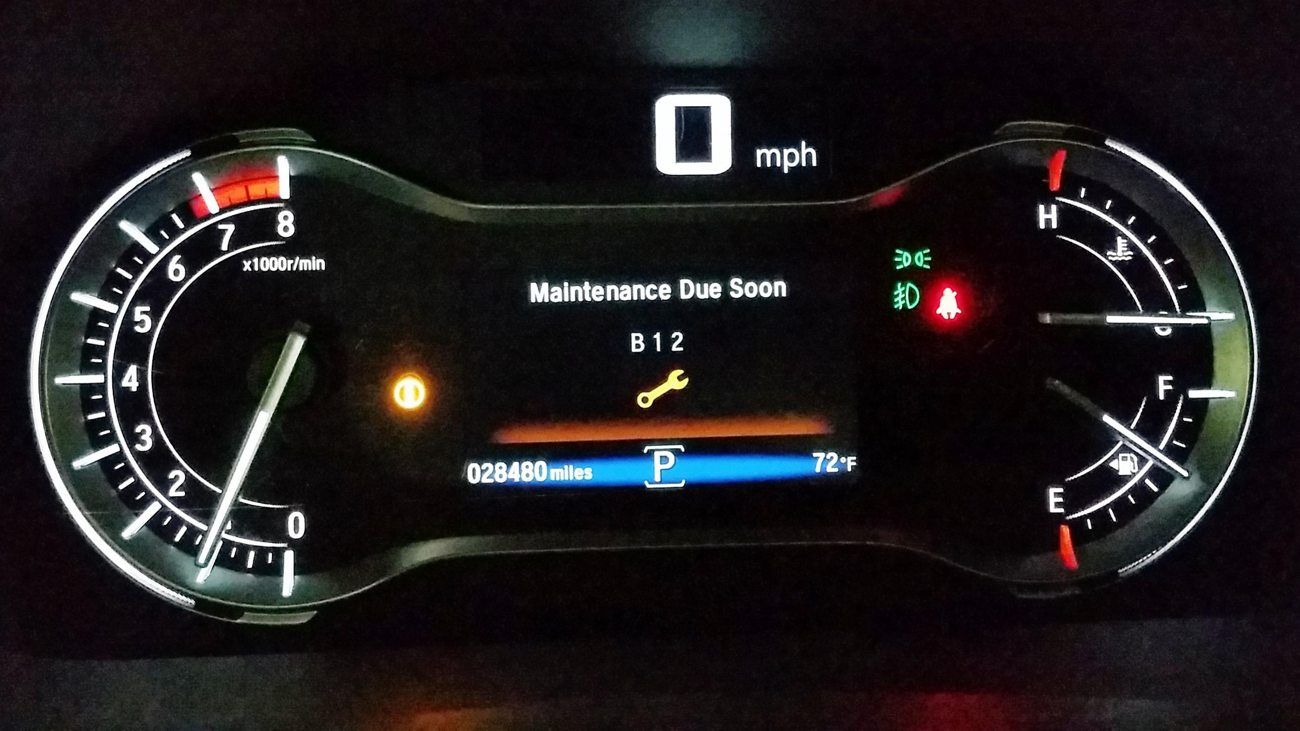 First 30K mile service or Maintenance Due Soon dash light Honda