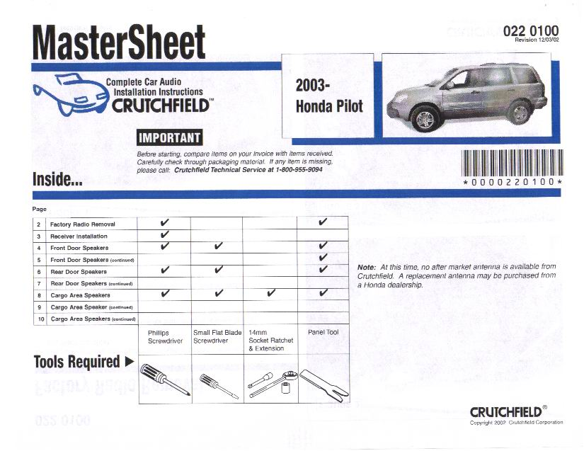 the definitive car stereo installation guide for the honda pilot rh piloteers org Installation Manual crutchfield stereo installation guide
