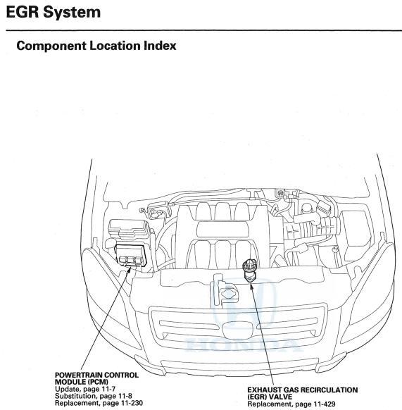 honda pilot egr valve location