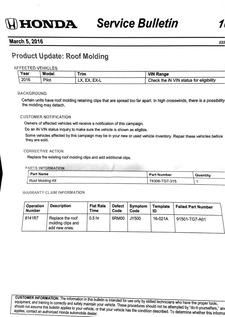 TSB 16-021 Roof Mouldings - Page 3 - Honda Pilot - Honda Pilot Forums