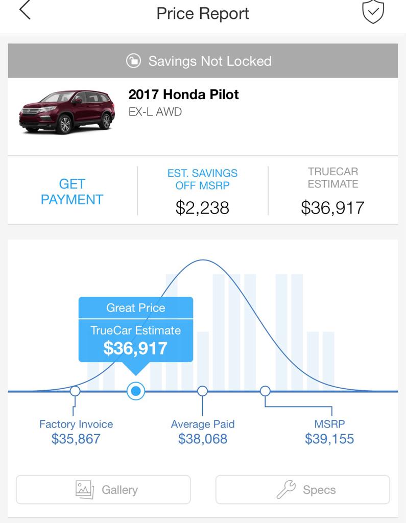 Pilot Prices Paid Page Honda Pilot Honda Pilot Forums - 2017 honda pilot ex l invoice price