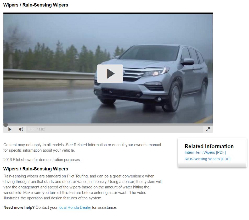 Did Honda Screw up?? - Rain Sensing Wipers - Honda Pilot - Honda Pilot Forums