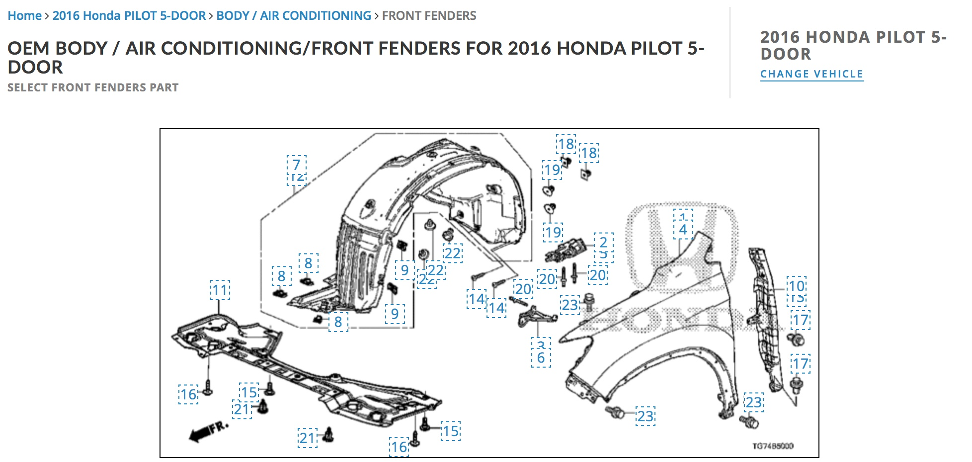 Engine Case Guards HO1228144 74111S3VA01 For Honda Pilot Front ...